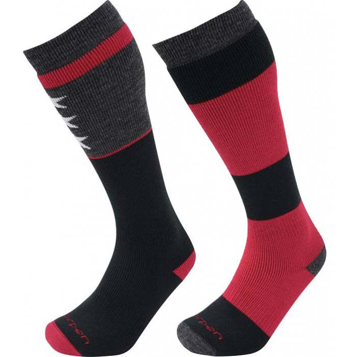 Lorpen Ski-Snowboard Merino 2 Pack Black/Red
