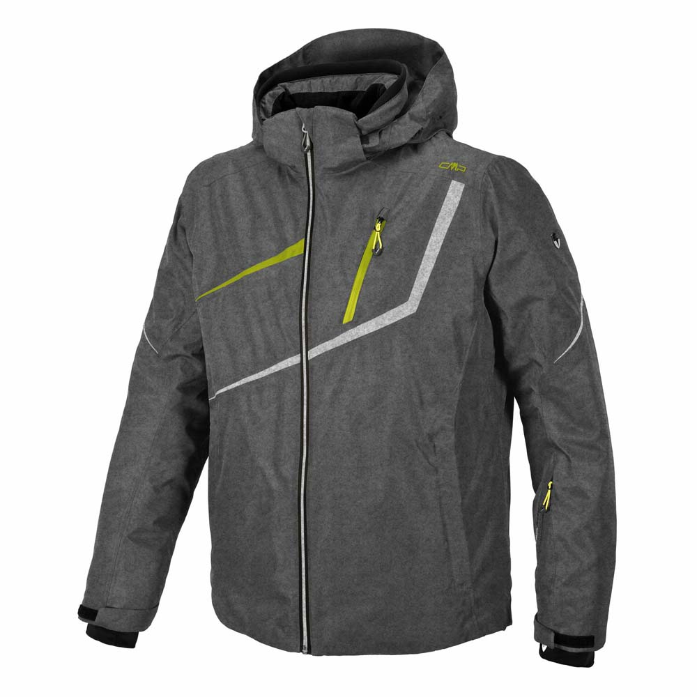 Cmp Ski Jacket Zip Hood Grey Melange / B-Co Lime Green