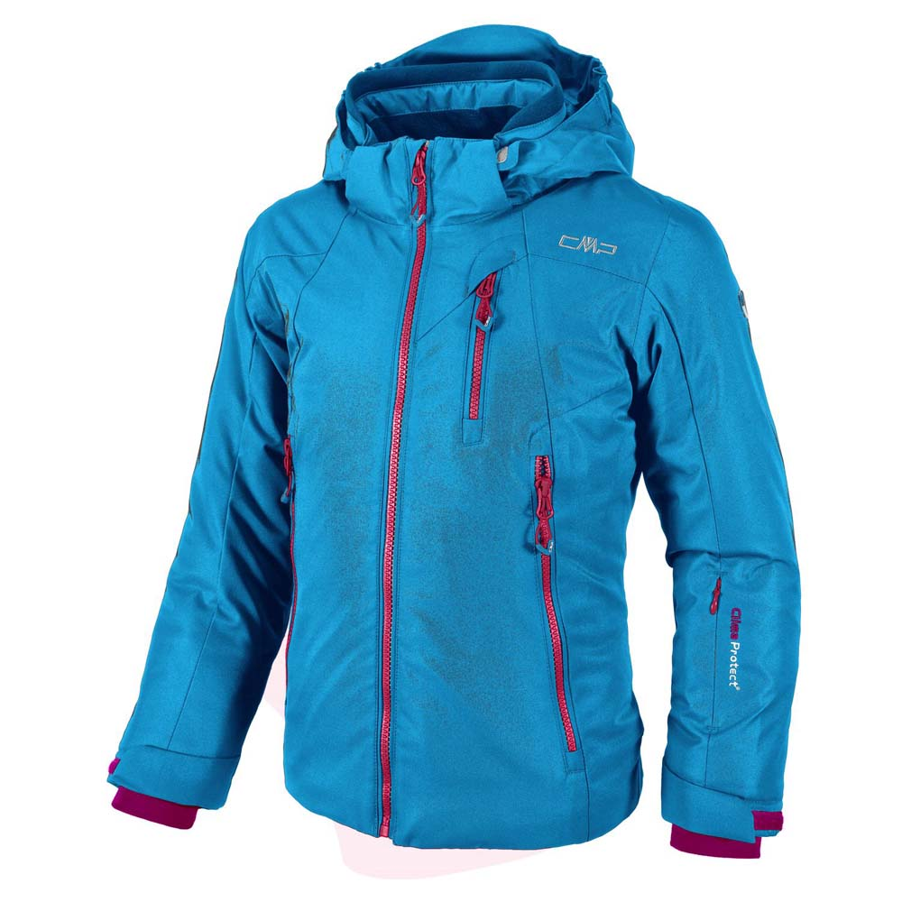 Cmp Ski Jacket Snaps Hood / Grey Melange / Campari Girls
