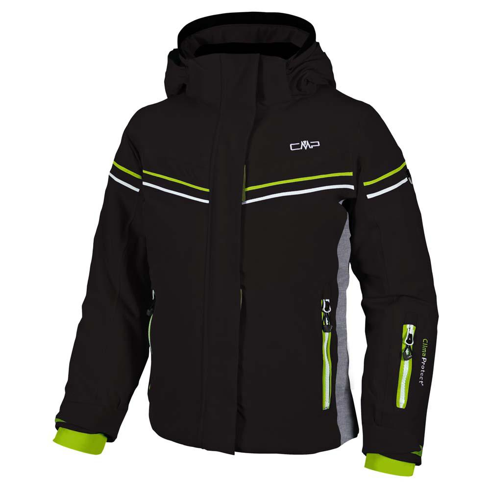 Cmp Jacket Stretch Snaps Hood / Grey Melange / Lime Green Girls