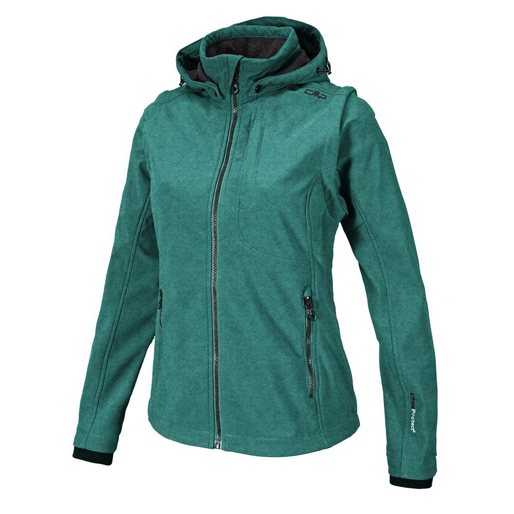 Cmp Zip Hood Melange W/ Detachable Sleeves