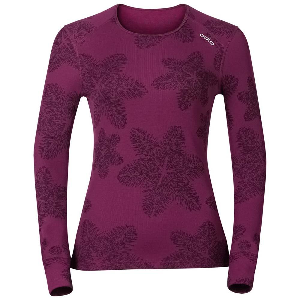 71aad10d28d90 Odlo God Jul Print Shirt L/S Crew Neck Purple, Snowinn