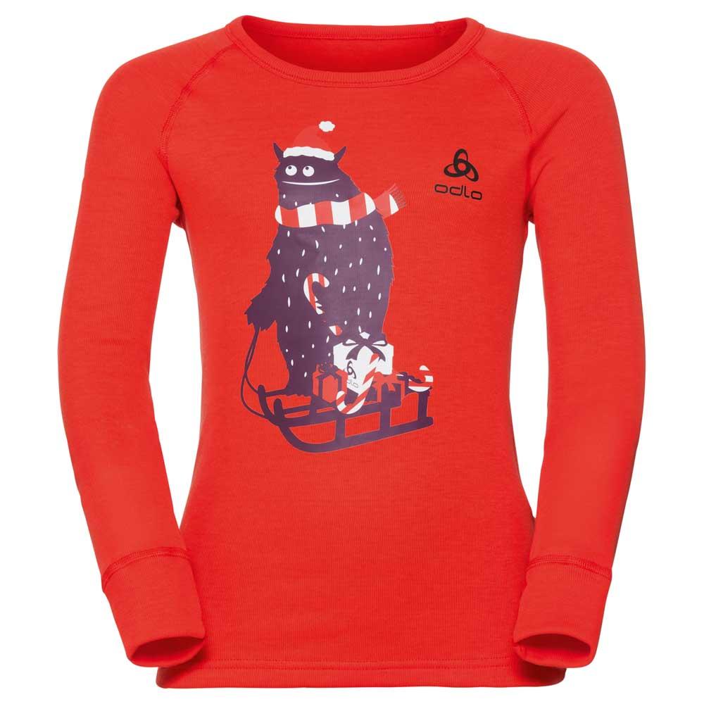 t-shirts-odlo-crew-neck-god-jul-print-l-s-80-cherry-tomato