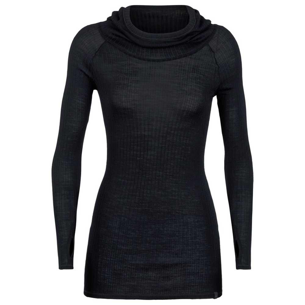 Icebreaker Luxe Rib Pullover Hoody Black, Snowinn