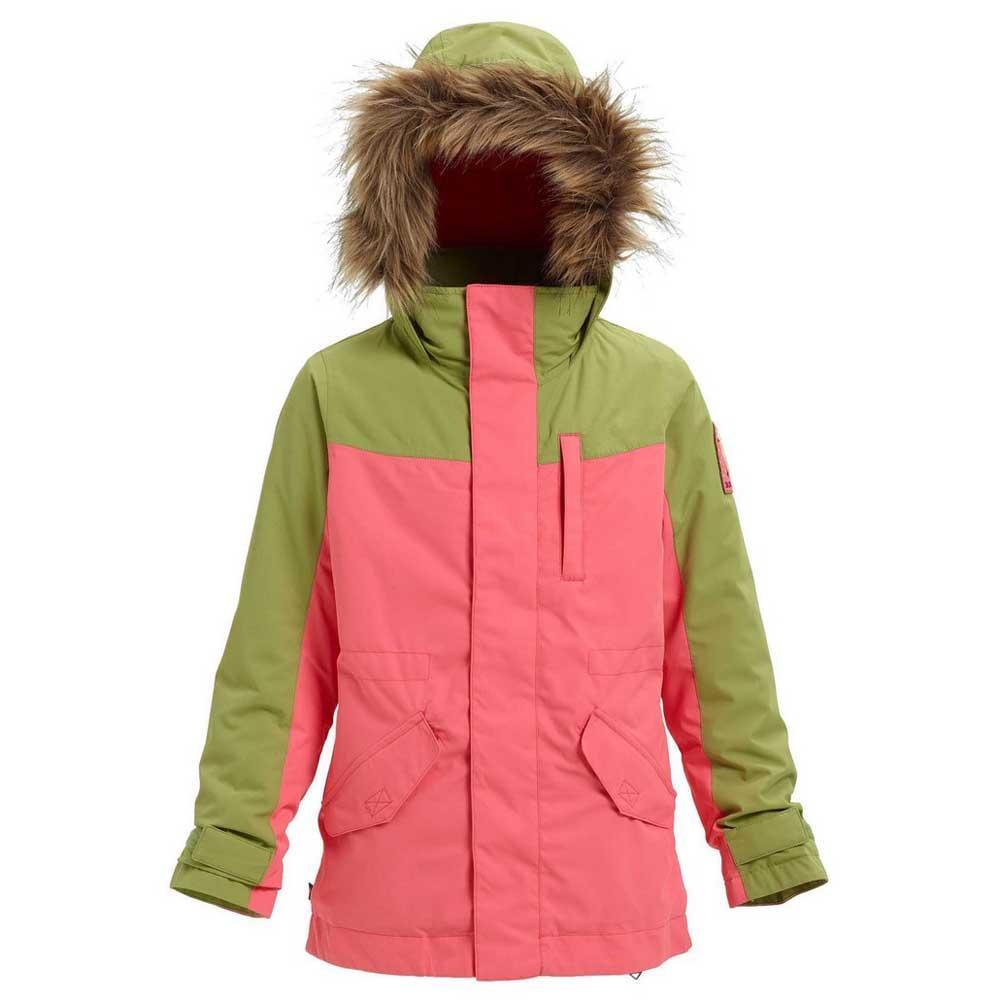 chaqueta burton con capucha dryride 2l durashell rosa y verde